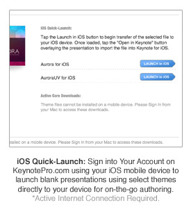 iOS Quick-Launch: Sign into Your Account on KeynotePro.com using your iOS mobile device to launch blank presentations using select themes directly to your device for on-the-go authoring. *Active Internet Connection Required.