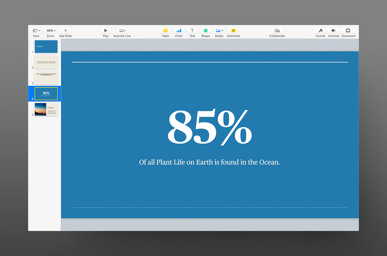 Keynote 10 adds new Master Slide options, including Statement and Big Fact masters.