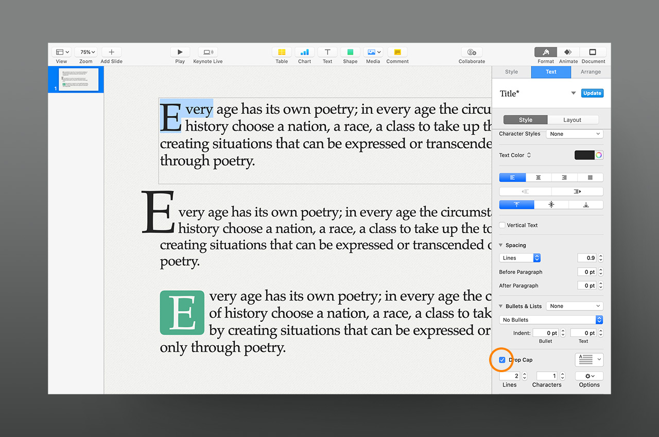 iWork 10 introduces Drop Cap character effects in the Text Inspector (highlighted in orange)