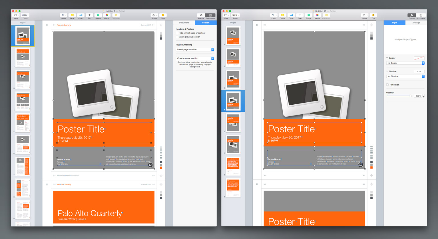 Paste the Poster layout objects to the blank Page 1 in the Newsletter document.
