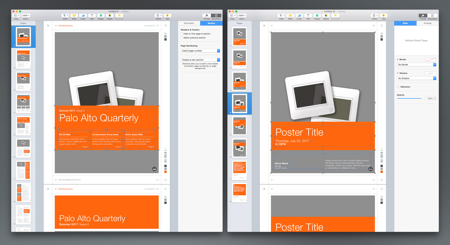 Shift-drag the pasted elements down to align with the bottom of the original orange accent.